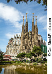 The Sagrada Familia cathedral in Barcelona, Spain - View of...