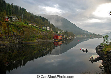 Norway landscape - Beautifull landscape in Norway reflected...
