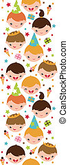 Kids at a birthday party vertical seamless pattern...