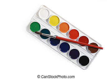 Watercolors and brush - Isolated box with watercolours and...