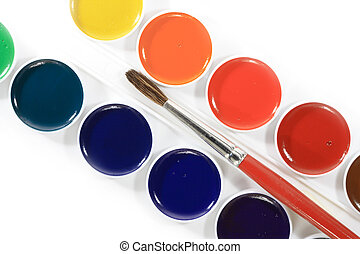 Watercolors and brush - Close-up of watercolours and brush...