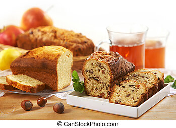 sweet bread with raisins and nuts
