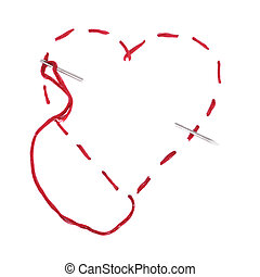 Needle with a red thread. Heart