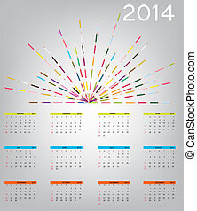 2014 new year calendar vector illustration.