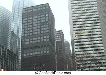 Chicago Towers In The Snow - Snow falls as Chicago towers...