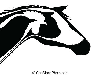 Black veterinary logo - Horse, cat, dog, rooster, bird and...