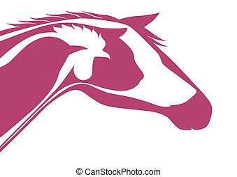 Pink veterinary logo - Horse, cat, dog, rooster, bird and...