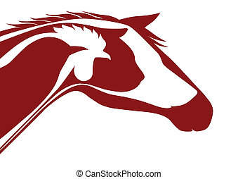 Red veterinary logo - Horse, cat, dog, rooster, bird and...
