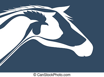 Veterinary logo over blue - Horse, cat, dog, rooster, bird...