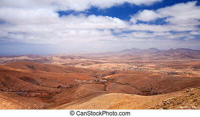 Central Fuerteventura, Canary Islands, view north from...
