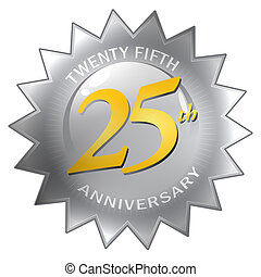 25th Anniversary Seal - A silver twenty fifth 25th...