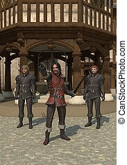 Town Guards - Guards on the streets of a Medieval town, 3d...
