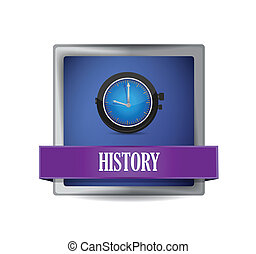 History icon on glossy blue button illustration design over...
