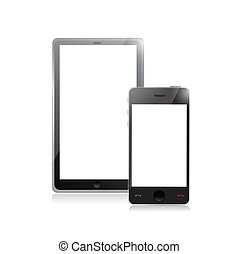 digital tablet PC with mobile smartphone