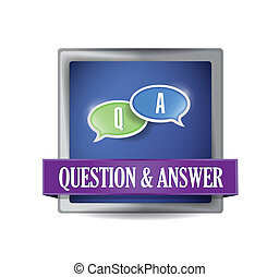 Question and answer button illustration design over white