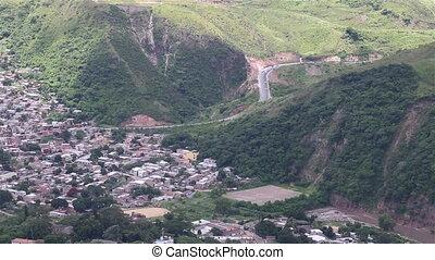 Honduras High Traffic - Aerial view over a road in Honduras