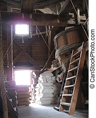 Interior windmill - Interior of a working flour windmill in...