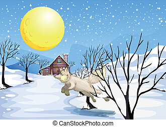 A wolf in the snow - Illustration of a wolf in the snow