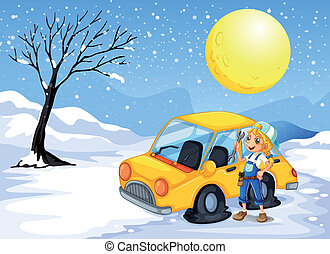 A girl repairing a car - Illustration of a girl repairing a...