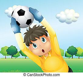 niño, futbol, juego, amarillo, uniforme