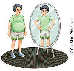 Illustration of a fat man outside the mirror and a skinny...
