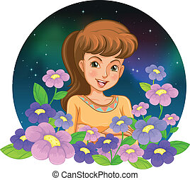 A girl surrounded by flowers
