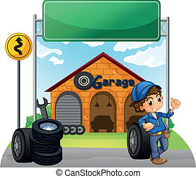 A boy standing beside a wheel outside the garage -...