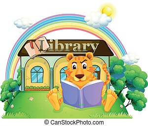 A tiger reading a book outside the library - Illustration of...