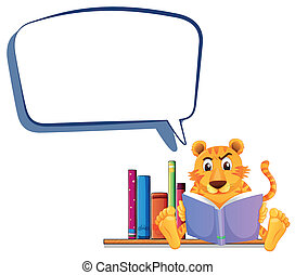 A tiger reading with an empty callout - Illustration of a...