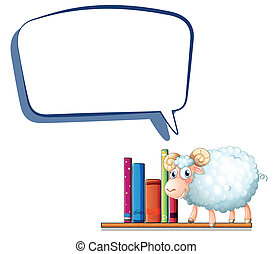 A sheep in the library with an empty callout - Illustration...