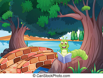 A worm reading a book near the bridge - Illustration of a...