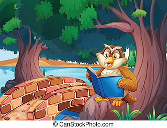 An owl reading a book under the tree near the bridge -...