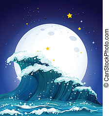 The waves and the moon - Illustration of the waves and the...