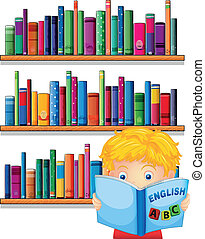 A boy reading with a wooden shelves at the back -...