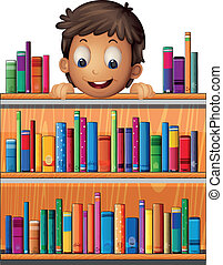 A boy at the back of a wooden shelves with books -...