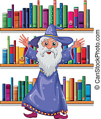 A wizard in the library - Illustration of a wizard in the...