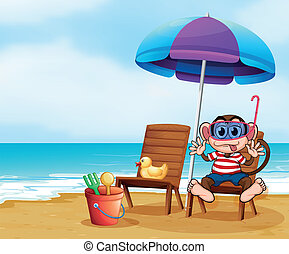 A monkey at the beach with toys
