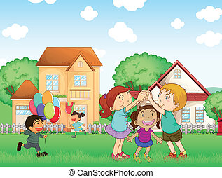 Children playing outside - Illustration of the children...