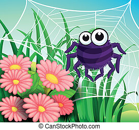 A spider web at the garden - Illustration of a spider web at...