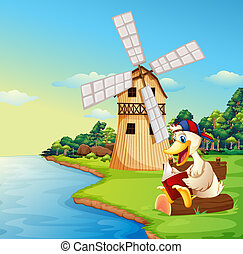 A duck reading a book near the windmill - Illustration of a...
