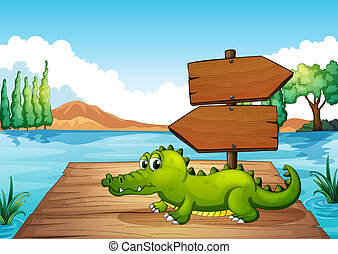A crocodile near the pond - Illustration of a crocodile near...