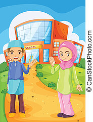 A male and a female Muslim in front of a school building -...