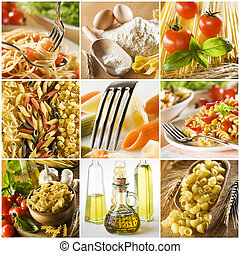 collage - beautiful pasta collage made from nine photgraphs