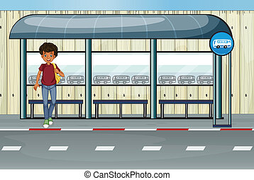 A boy at the bus stop - Illustration of a boy at the bus...