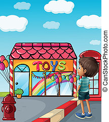 A boy standing near the toy store - Illustration of a boy...