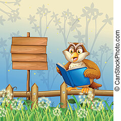 An owl reading a book beside a wooden signboard -...