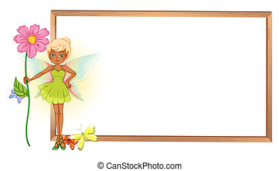 A fairy holding a flower in front of the empty signboard