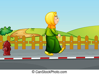 An old lady walking along the road - Illustration of an old...