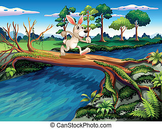 A rabbit crossing the river - Illustration of a rabbit...