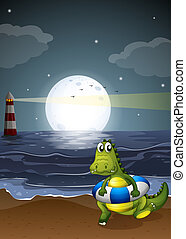 A crocodile at the beach - Illustration of a crocodile at...